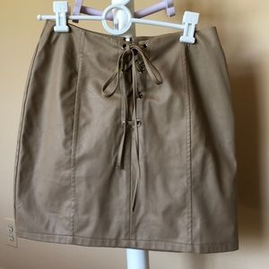 Faux Leather Skirt Tie Front